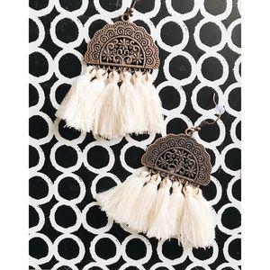 Jewelry - boho bronze & ivory tassel fringe earrings